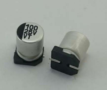 CAPACITOR ELETROLITICO 100UF 25V SMD 6,3X7,7MM - EMBALAGEM 100PEÇAS